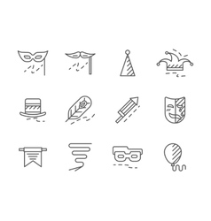 Party with costumes black line icons set vector image