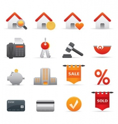 Real state icons red vector