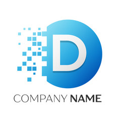 realistic letter d logo in colorful circle vector image vector image