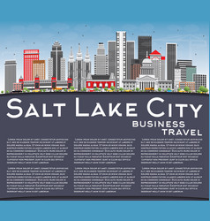 salt lake city skyline with gray buildings blue vector image