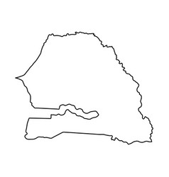 senegal map of black contour curves on white vector image