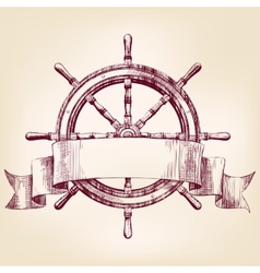 ship steering wheel drawing vector image vector image