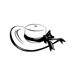 Vintage wide-brimmed woman hat with bow isolated vector image