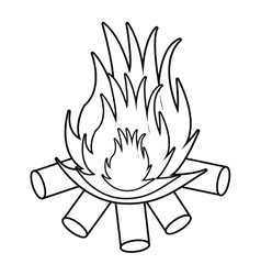 Wooden logs and flame graphic vector