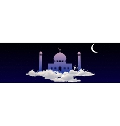 Ramadan kareem greeting with mosque on heaven vector