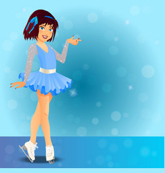 Figure skating cute girl vector