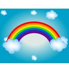 cloud sun rainbow background vector image