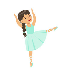 Little girl in blue dress with plat dancing ballet vector