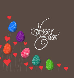 trees growing easter eggs and heart background vector image