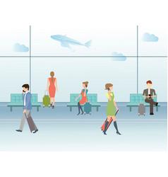 Airport terminal hall vector