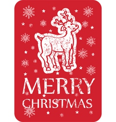 cristmas greeting with deer vector image