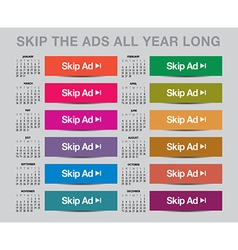 2017 Skip the ads calendar vector image vector image