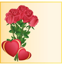 Greeting card with two hearts and red roses vector image
