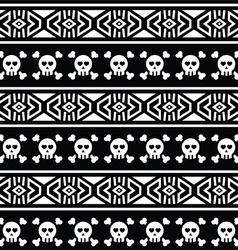 Tribal aztec seamless pattern with skull on black vector