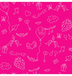 Love seamless pattern with birds mails and hearts vector