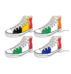 Modern hand draw sneakers with europe union flags vector