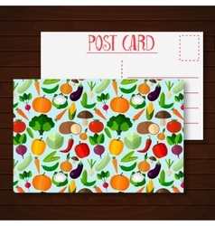 Postcard with fruits and vegetables vector