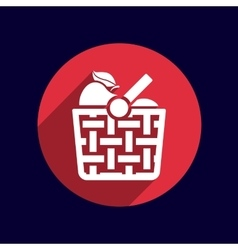 Basket icon with shadow and other picnic icons vector