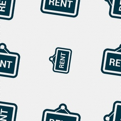 Rent icon sign seamless pattern with geometric vector