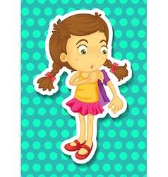 Sticker of girl wearing jacket vector image
