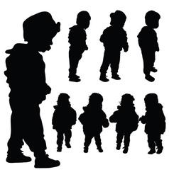 Children set black silhouette vector
