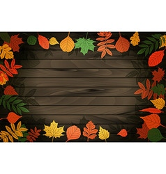 Autumn leaves on the background wood vector