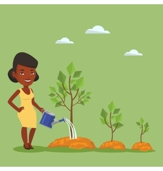 Business woman watering trees vector image vector image