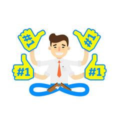 Businessman in lotus pose icon vector
