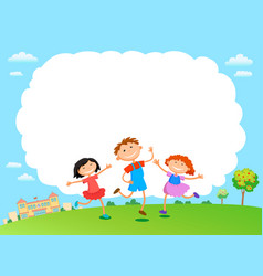 Children play clouds design over sky background vector