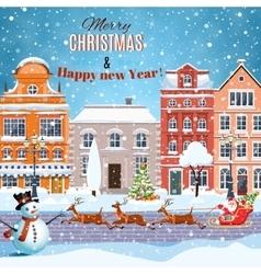 Christmas Santa Claus riding on sleigh vector image vector image