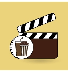 Clapper movie pop corn design vector
