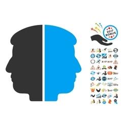 Dual face icon with 2017 year bonus symbols vector