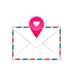 Envelope with heart mark flat icon vector image vector image