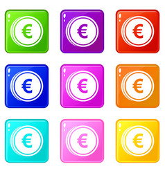 Euro coins icons 9 set vector