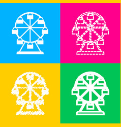 Ferris wheel sign four styles of icon on four vector