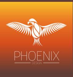 Flaming phoenix bird with wide spread wings in vector