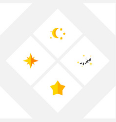Flat icon midnight set of bedtime night starlet vector