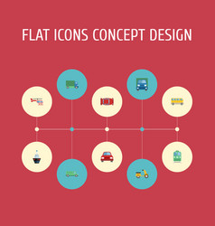 flat icons automotive automobile truck and other vector image