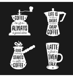 Hand drawn typography coffee related posters set vector image