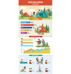 hiking and camping infographic concept vector image vector image