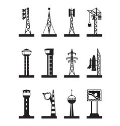 Industrial towers and poles vector image vector image