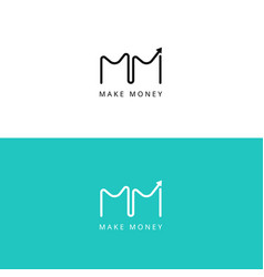 M letter financial chart logo grow up sign vector