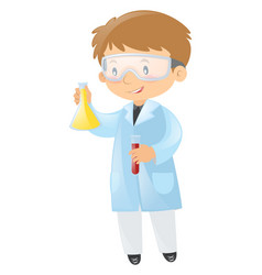 Male scientist holding beakers vector
