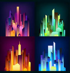 night city illuminated 4 icons poster vector image vector image
