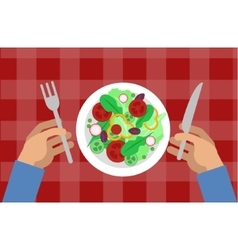 Salad and hands holding knife and fork vector