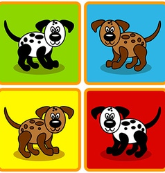 Seamless cartoon dogs over squares vector image