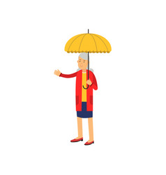 senior woman standing under yellow umbrella vector image vector image