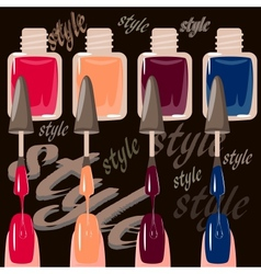 Set of multicolored nail polish brushes vector image