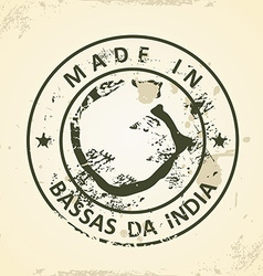 Stamp with map of bassas da india vector