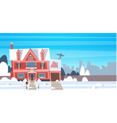 village winter landscape house building with snow vector image